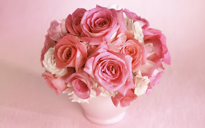 Pink Roses Bouquet in Pink Mud Vase HD Wallpaper
