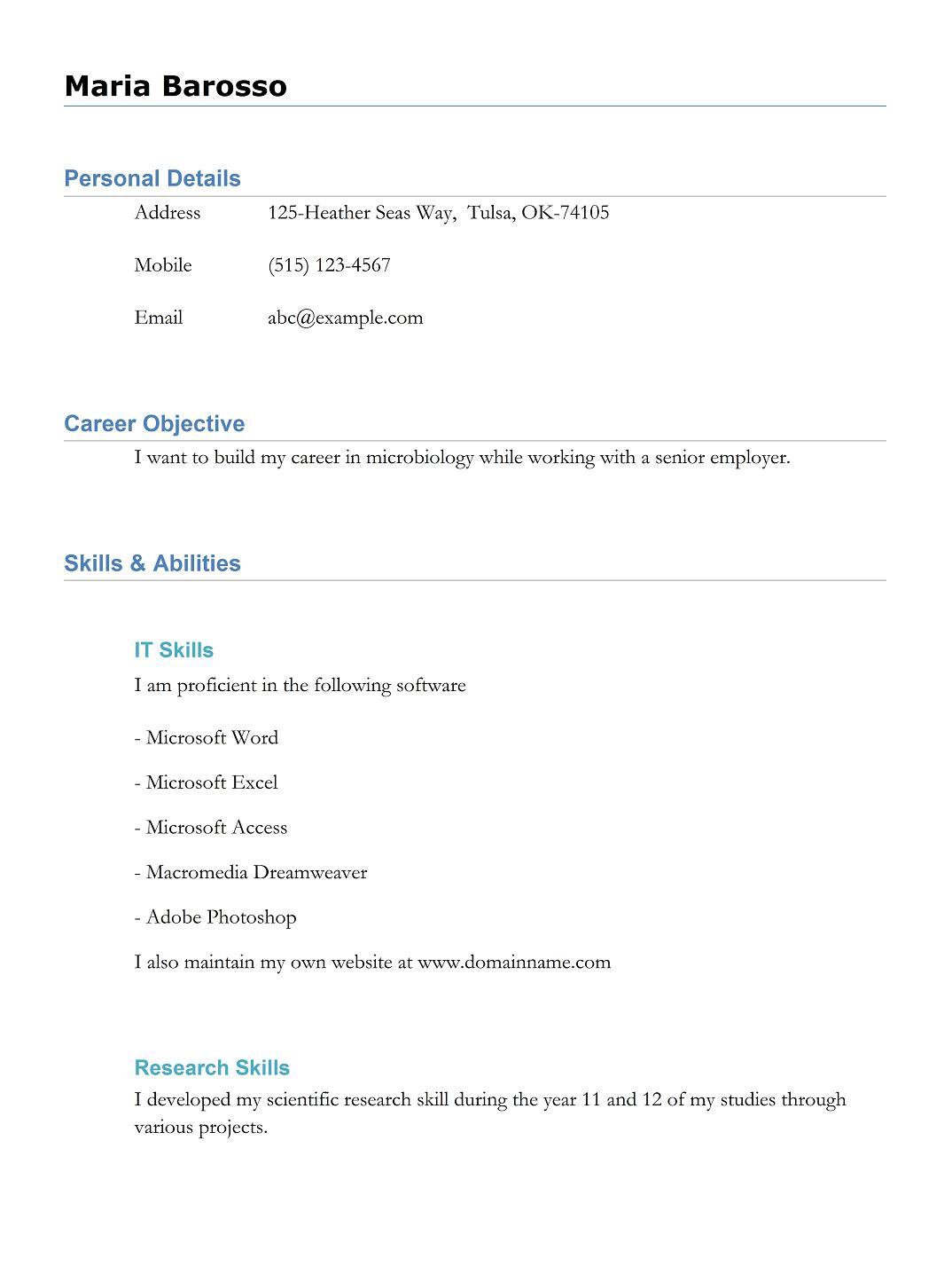 7 best executive resume samples for freshers - Hobbies In Resume For Freshers