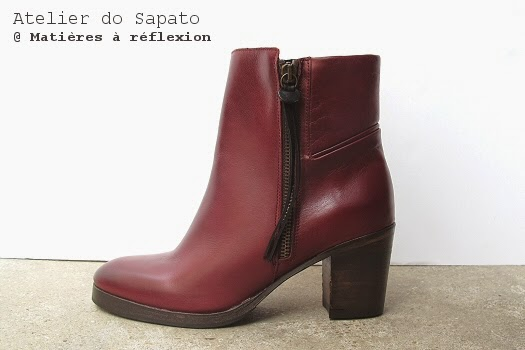 Bottines zippées cuir bordeaux Atelier do Sapato