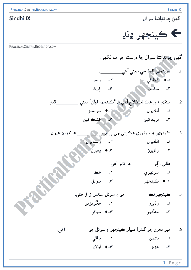keenjhar-jheel-multiple-choice-questions-sindhi-notes-ix