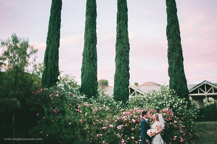 """""""bride and groom at chic outdoor wedding in los angeles"""""""