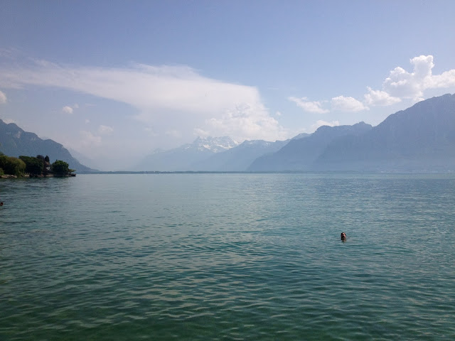 Megan swimming in Lake Geneva on Semi-Charmed Kind of Life