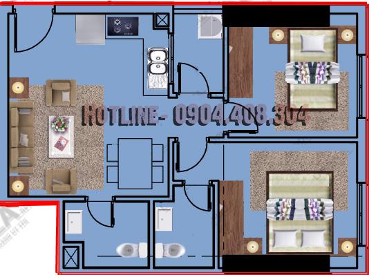 mặt bằng thiết kế căn 53m2 CT12