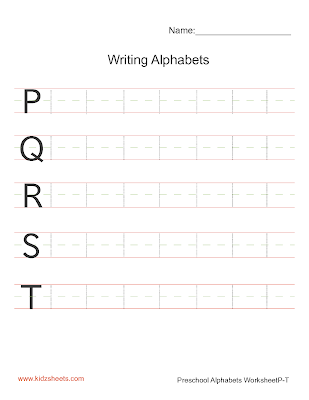 Writing Upper Case Alphabets P-T, Writing Alphabets Worksheets