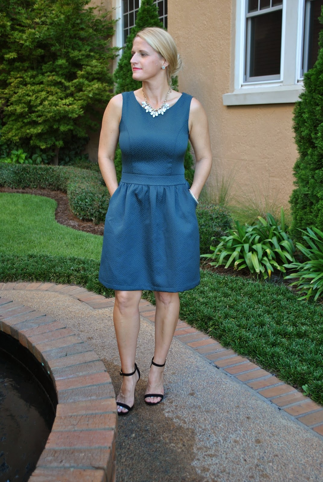 Target Mossimo Brocade Green Fit and Flare Dress
