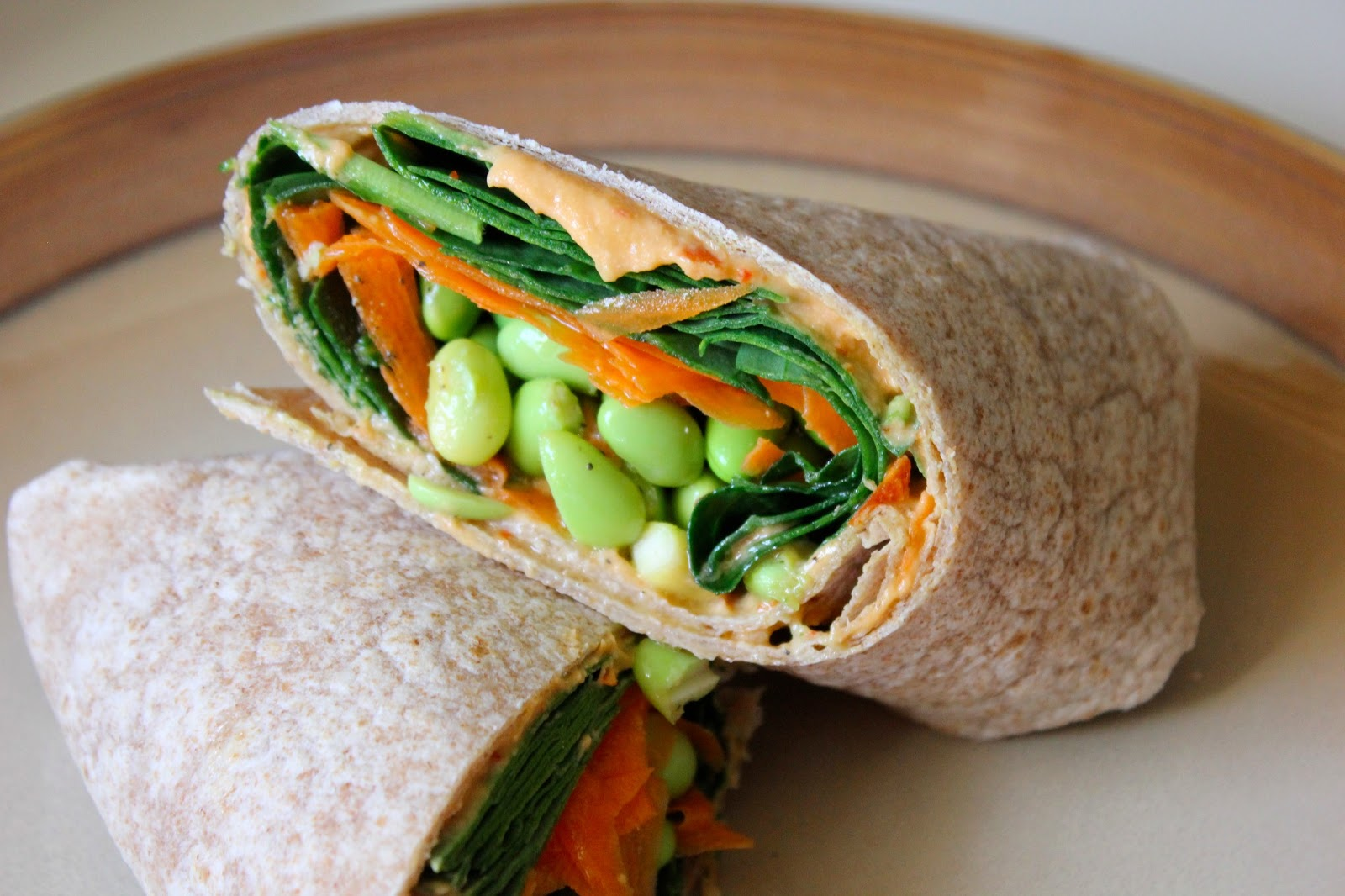 ... : Easy Lunch Idea: Edamame Roasted Red Pepper Hummus and Veggie Wrap