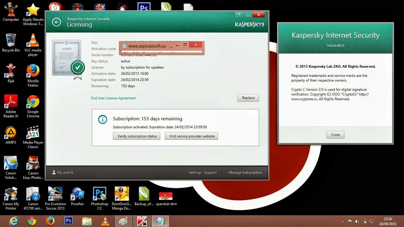 Screenshoot, Link MediaFire, Download Kaspersky Internet Security 2014 Full Serial Key Crack