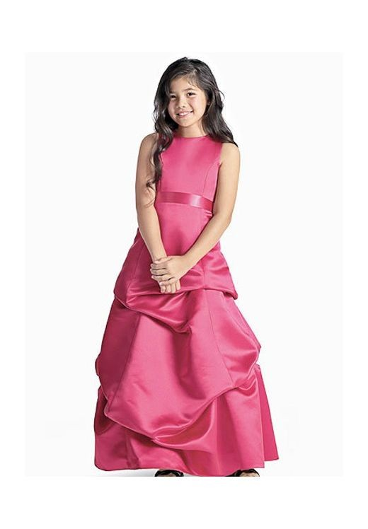 Satin Scoop A-line Long Junior Bridesmaid Dress