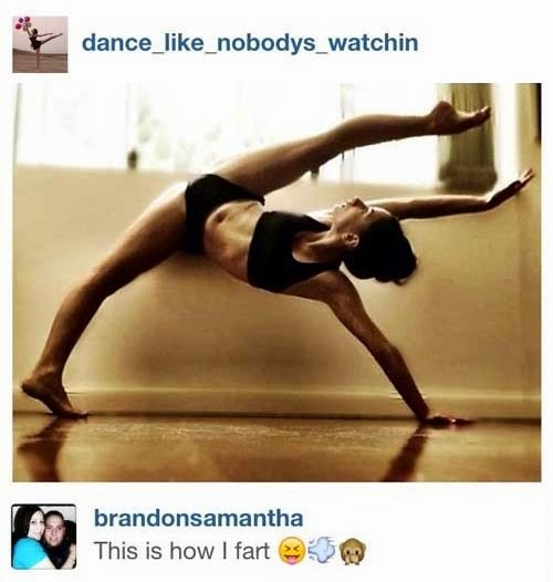 hilarious comment for yoga posture on Instagram