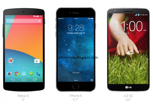 Nexus 5 vs iphone 6 y LG G2