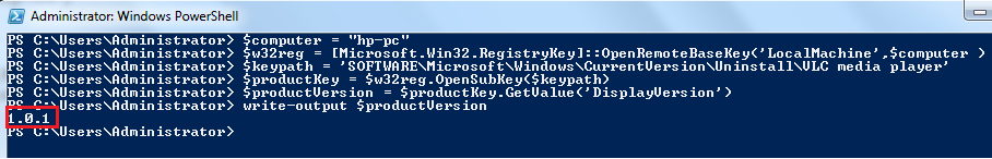 Powershell script to Read Remote Registry Value from Remote Machine