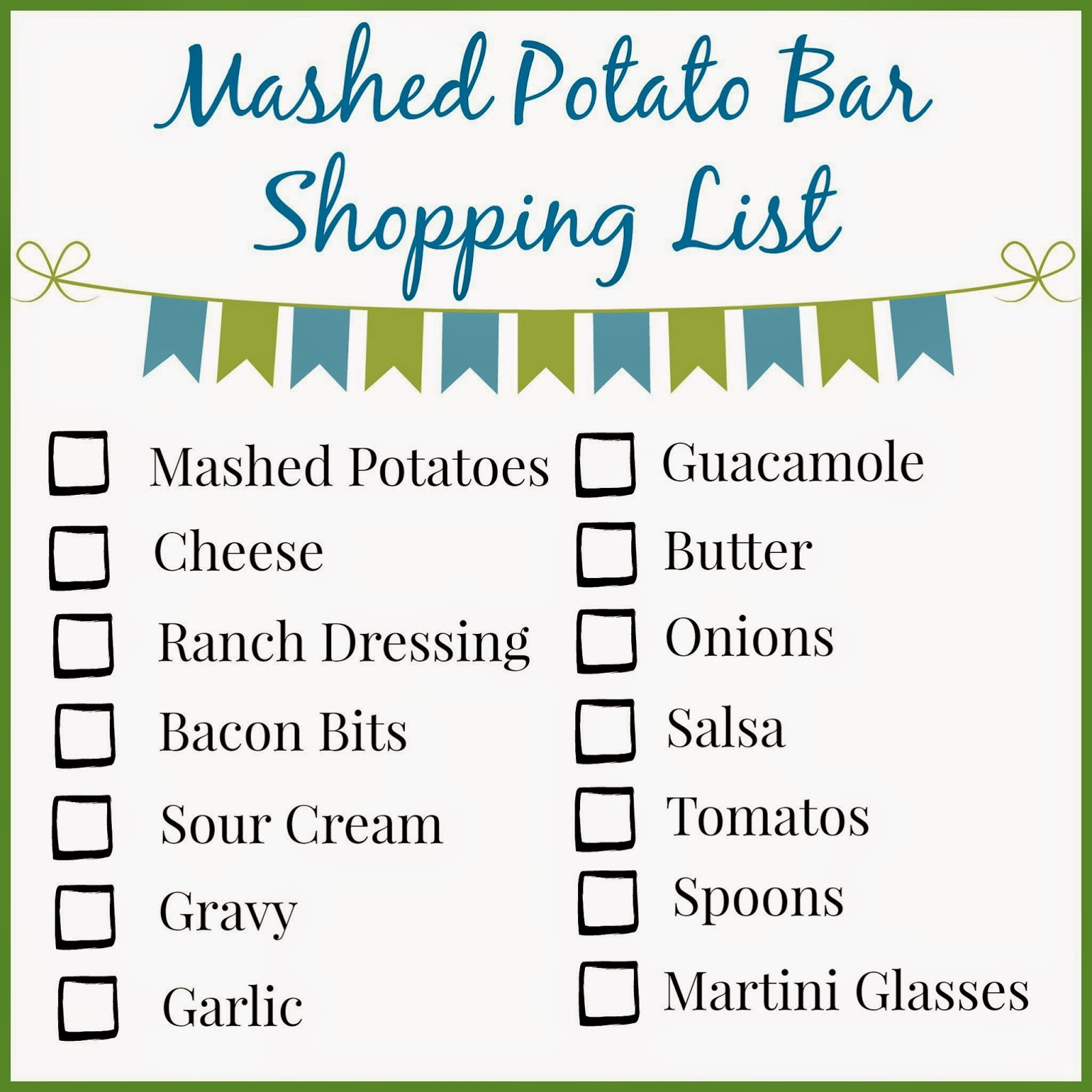 TasteTheSeason with Kraft products.  Holiday party ideas.  Mashed Potato Bar.  Mashed Potato Bar Printable Table Tents.  Mashed Potatoes in a Martini Glass.