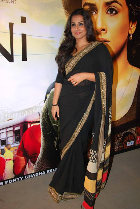 Vidya Balan in Black Saree Photos at kahaani movie success party hot photoshoot