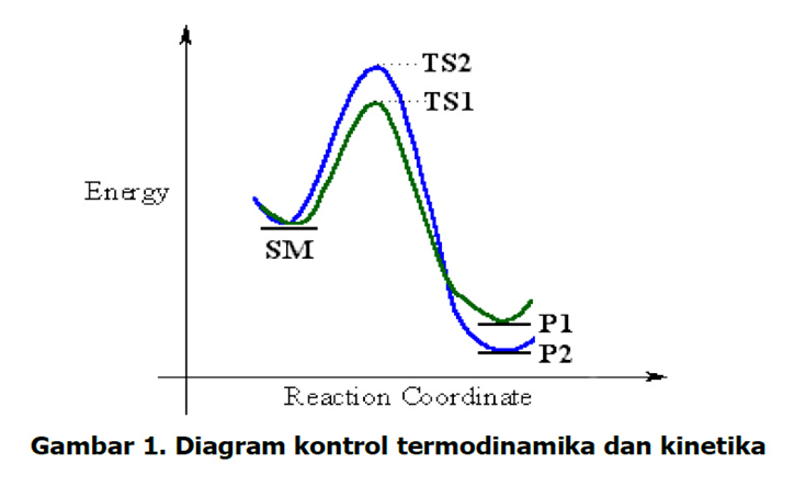 Aris munandar f1c11004 kontrol termodinamik dan kontrol kinetik pada diagram tersebut dapat dijelaskan bahwa bahan awal sm dapat bereaksi untuk memberikan dua produk yang berbeda yaitu p1 garis hijau dan p2 garis ccuart Choice Image