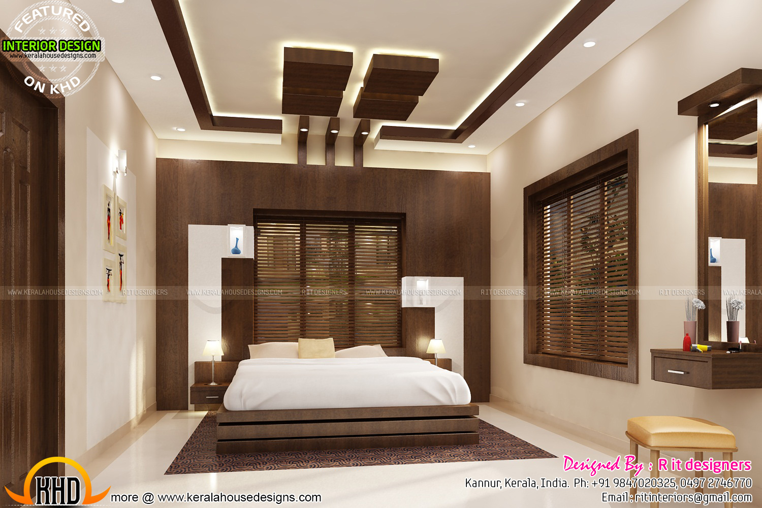 Bifurcated stair bedroom kitchen interiors kerala home for Interior designs in kerala