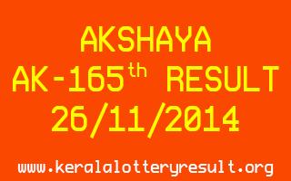 AKSHAYA Lottery AK-165 Result 26-11-2014
