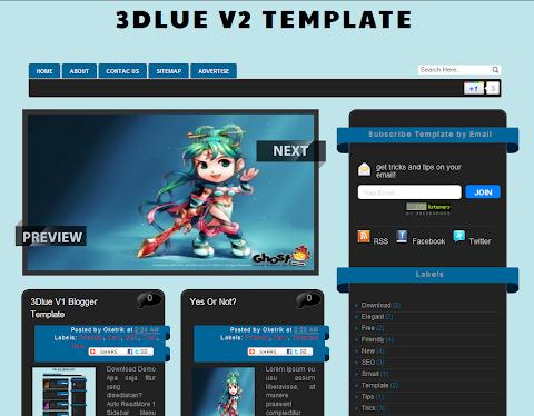 3Dlue V2 Blogger Theme