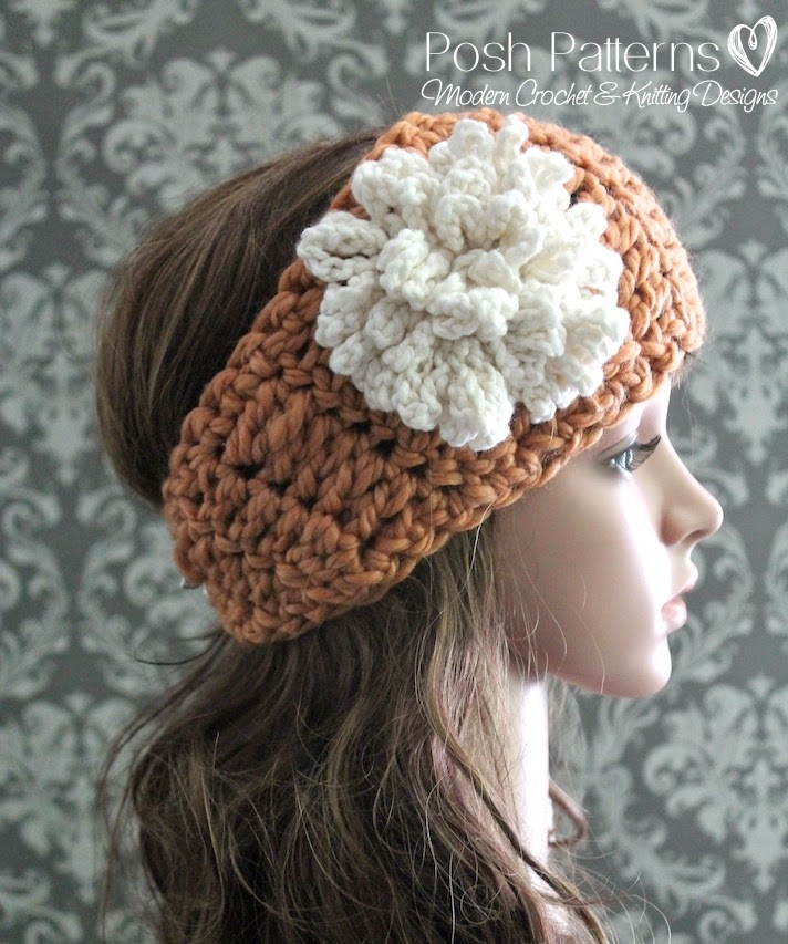 Crochet Wide Headband With Flower Free Pattern : Posh Patterns Easy Crochet Patterns and Knitting Patterns ...