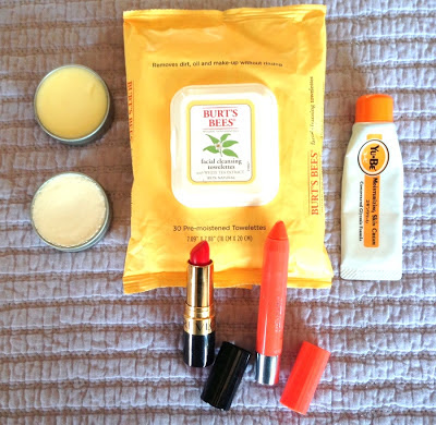 Lip Balm, Lip Stick, Hand Cream and face wipes