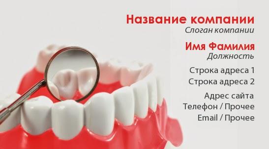 на визитке стоматолога нарисован макет нижней челюсти