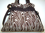 Funky Handmade Drawstring Handbag Purse Chocolate Swirl