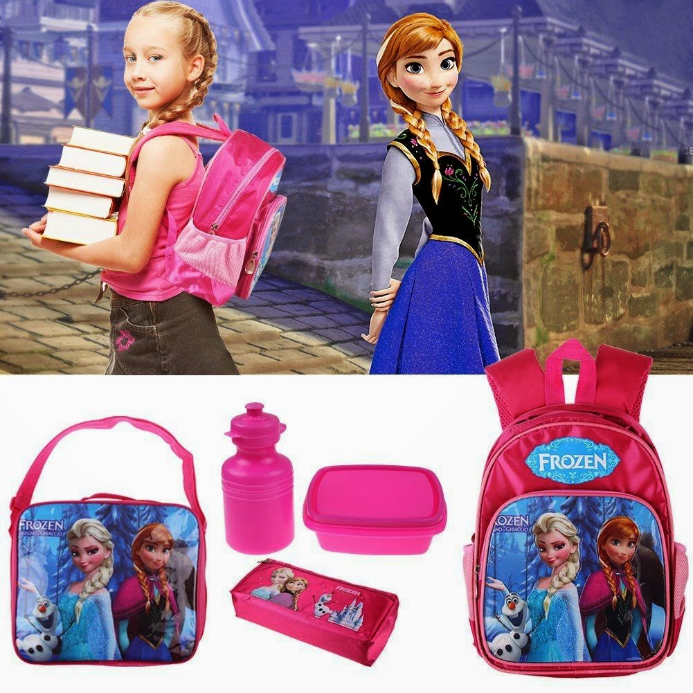 Disney Frozen Backpack and Lunch Anna Elsa School Bag Children Kids + Pencil Box