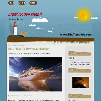 Light House Island Blogger Template. template for travel blog