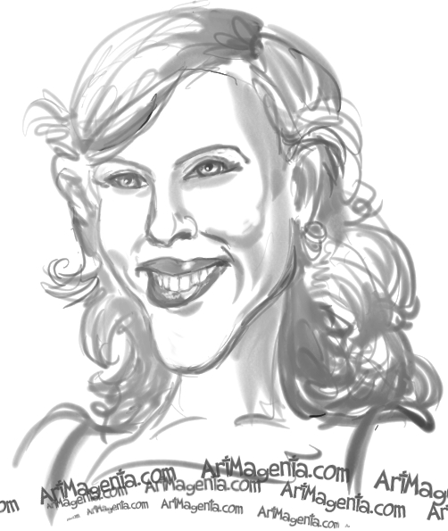 Scarlett Johansson caricature cartoon. Portrait drawing by caricaturist Artmagenta