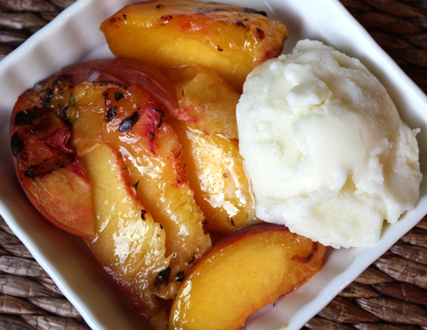 Grilled Peaches with Homemade Vanilla Ice Cream recipe by Barefeet In The Kitchen
