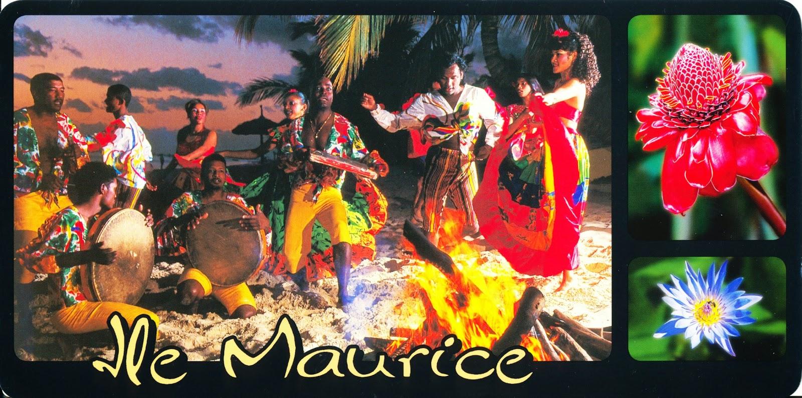 postcard, mauritius, beach, danse du séga