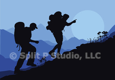 mountain hiking vector art