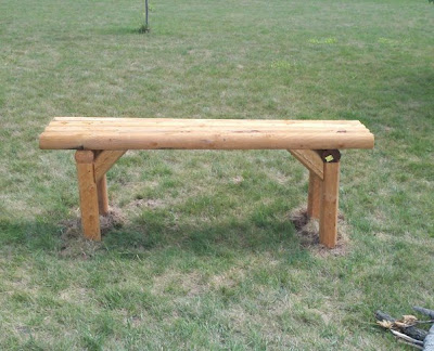 Crafts by jolynn landscape timber creations for Landscape timber bench