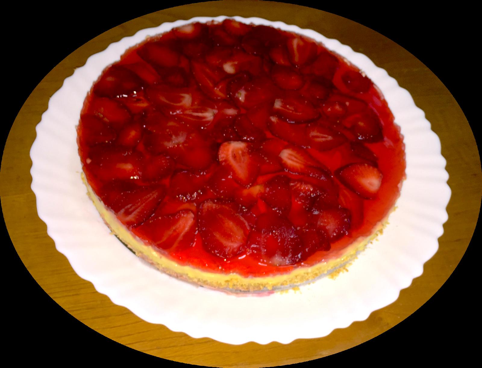 Tarta de crema con fresas