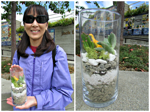 Jack London Square // Mini Terrarium with Yellow Dinosaur