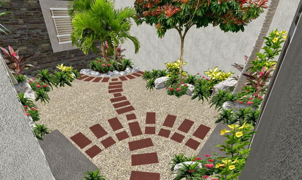 Patio con sendero creativo de adoqu n el ave f nix for Modelos de jardines sencillos