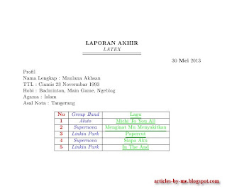 Contoh Program Latex Paragraf Dan Tabel