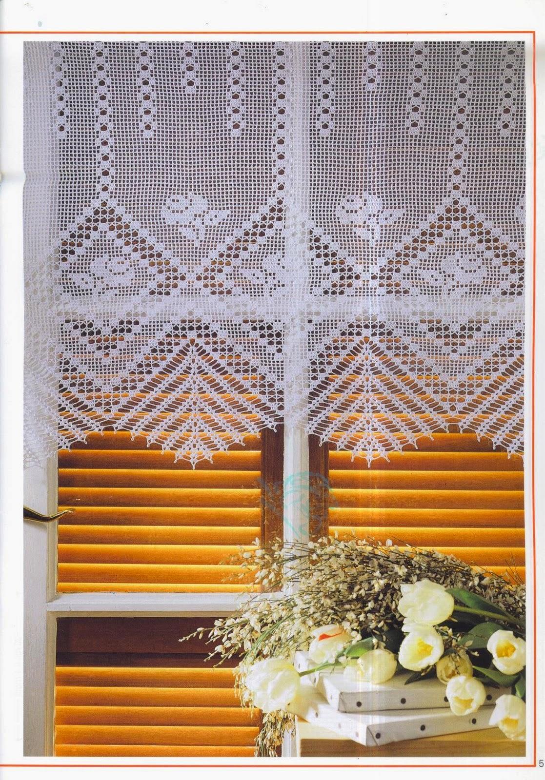 Вязание крючком занавески на окно