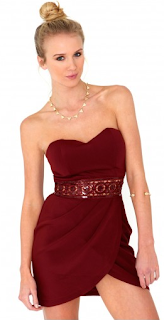 Nerissa Sequin Waistband Bandeau Dress In Burgundy