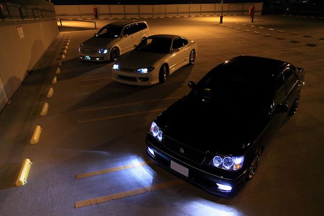 Nissan Stagea, Nissan Silvia S15, Toyota Crown, japońskie samochody, nocą, JDM