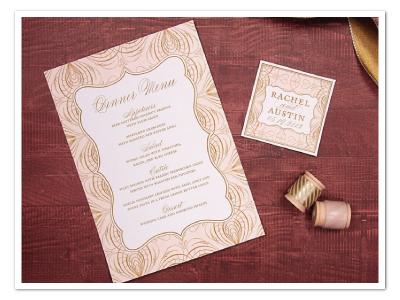 glamorous pink and gold wedding menu card design