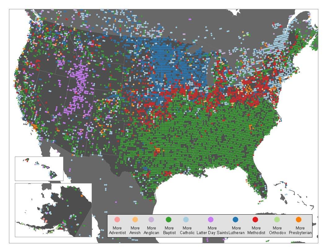 Daniel Silliman Americas religious regions according to geocoded