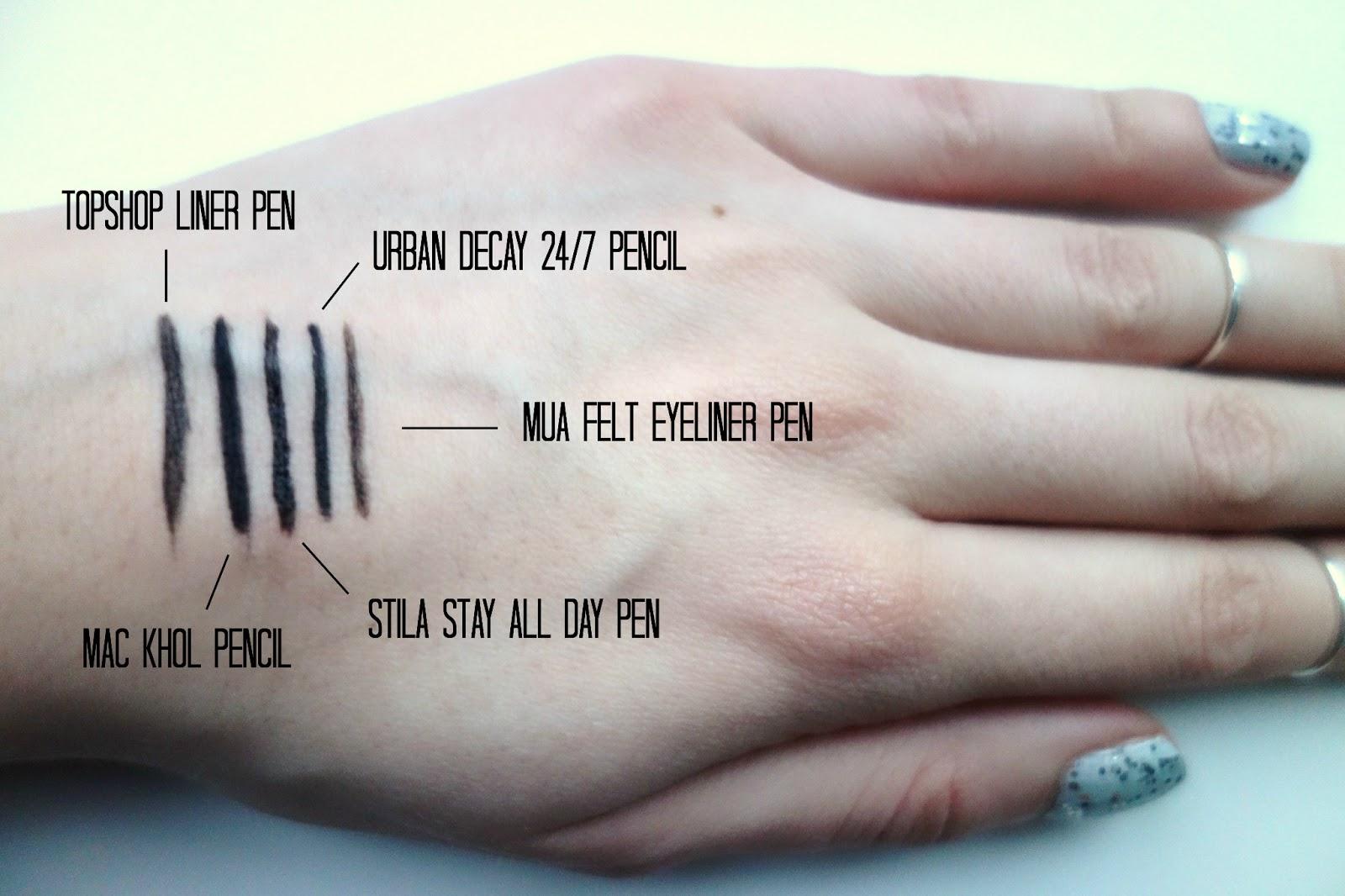 mua felt eyeliner pen, mac khol in smoulder, stila stay all day eyeliner pen, urban decay 24/7 pencil, topshop eyeliner