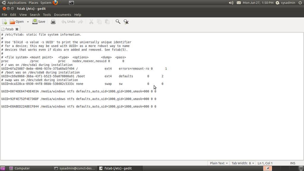 HowTo Debian/Ubuntu Linux Auto Mount Windows NTFS File System [ntfs-3g]
