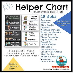 Classroom Helper Chart Cards