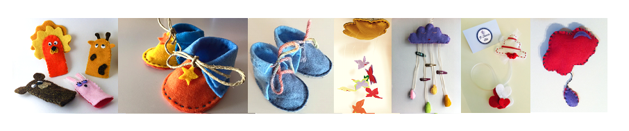 Handmade stuff for kids in coloured world