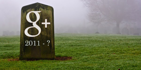 A Google+ gravestone picturing 2011 - ?.  In the background is a misty graveyard.