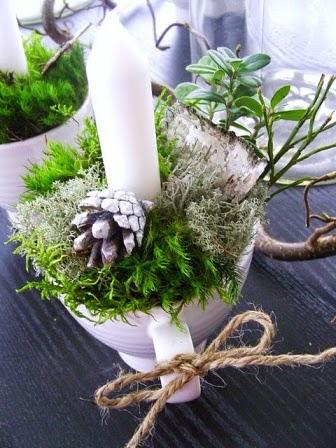 décoration nature avec une tasse bougeoir