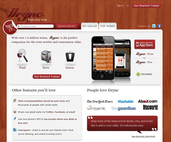 Drync: iphone application website