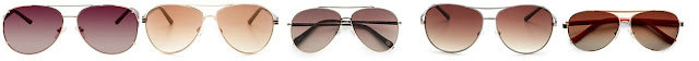 Target Gradient Brown Lens Sunglasses $16.99 buy 1 get 1 50% off  Steve Madden Aviator Sunglasses $249.97 (regular $40.00)  Fossil 60MM Aviator Sunglasses $29.99 (regular $98.00)  BCBG Metal Aviator Sunglasses $39.97 (regular $99.00)  Sperry Seabrook Aviator Sunglasses $49.99 (regular $95.00)
