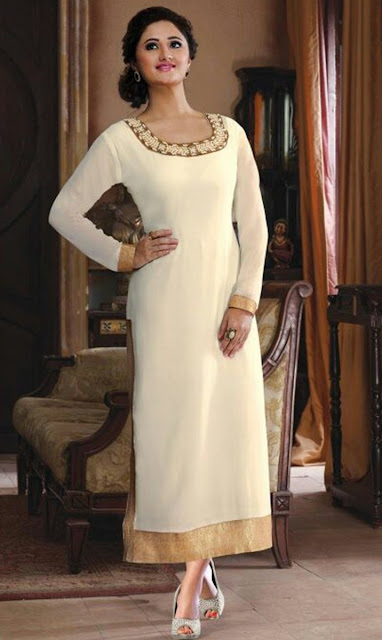 Cream Chanderi Embroidered Desinger Kurti for Wedding Wear